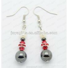 Boucles d'oreilles en forme de perles rondes en hématite, perles d'hématite et boucles d'oreilles en argent avec boucles d'oreilles en hematite 2pcs / set