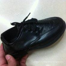 Дешевые дети черный повседневный кожаный запасы обуви (FF525-1)