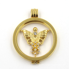 Stainless Steel Floating Locket Fashion Gold Necklace Jewelry