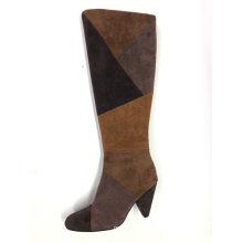Ladies Round Toe  Kitten Heel Knee-High Boot