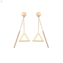 Stainless Bar Triangle Tassel Drop Charm Earrings