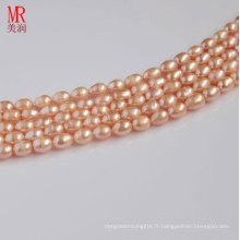7-8mm Forme de riz rose Forme des perles d'eau douce