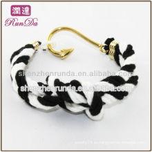 2014 artículos calientes del regalo gancho de pescados dos pulseras de la cuerda del algodón del tono