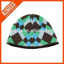 Cheap jacquard custom winter acrylic funny knitted beanie hat