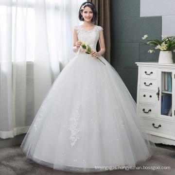 Korean Style V-Neck Lace Tank Sleeveless Floral Print Ball Gown Wedding Dress