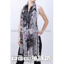 Latest long scarves, ladies' printed mercerized wool scarf