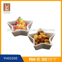 Hot sale white ceramic star shape tapas set with bamboo tray