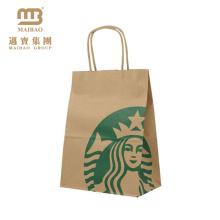 China Hersteller Großhandel Benutzerdefinierte Druck Günstige Shopping Recycling Brown Kraftpapier Taschen Für Lebensmittelgeschäft
