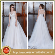 AE-05 Classic Crepe Ball Gown Bridal Wedding Gown 2016 See Through Back High Neckline Wedding Dress with Detailed Lace Applique