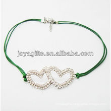 Diamante double heart alloy woven bracelet