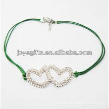 Diamante pulseira de coração de liga dupla