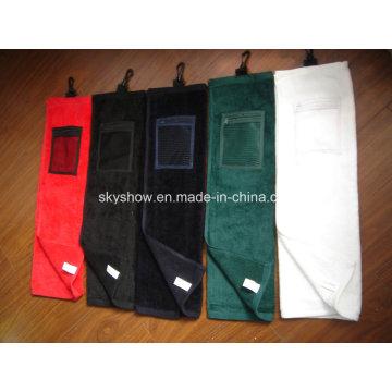 Serviette de golf 100% coton avec poche (SST1018)