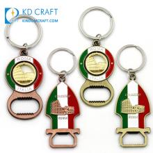Unique design no minimum custom metal zinc alloy soft enamel italy roma souvenir bottle opener keychain