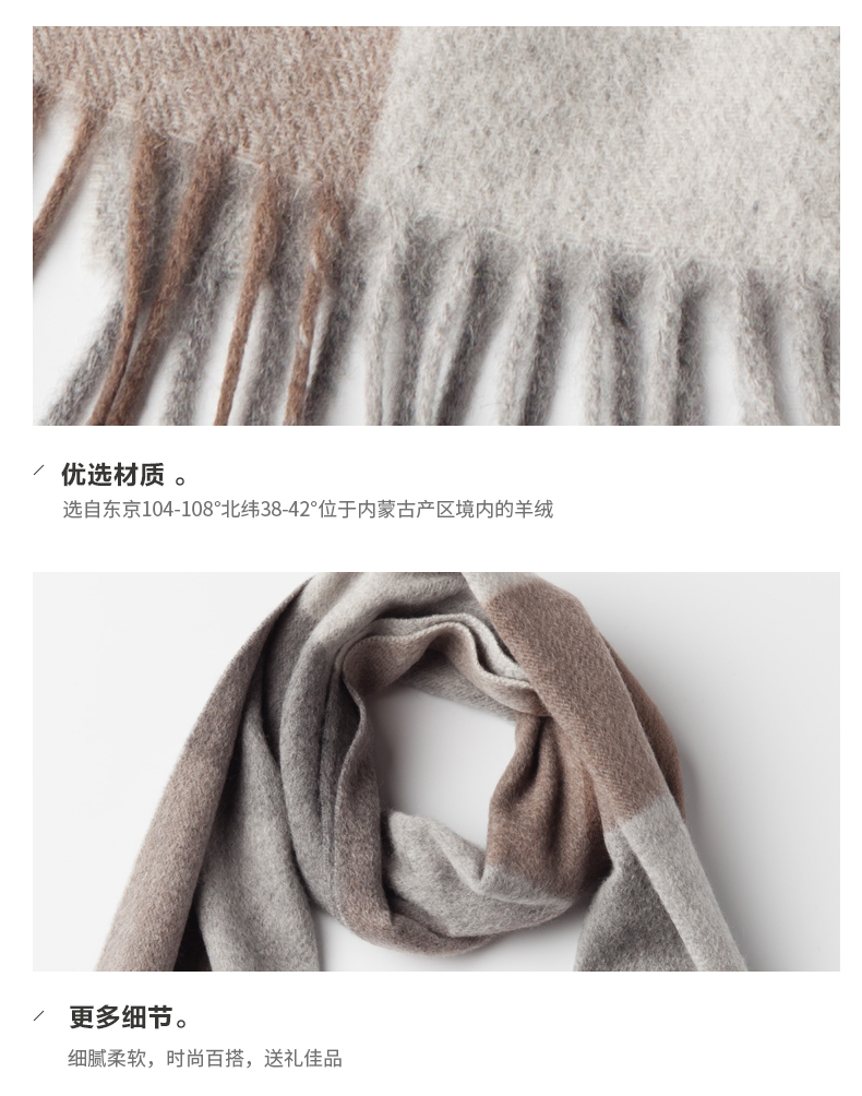 Unisex Plaids Wool Cashmere Scarf -9