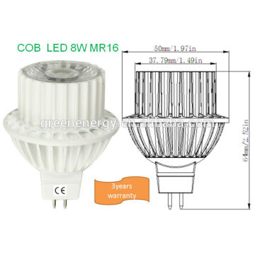 New design 12v mr16 led bulb 8W Epistar COB LED CE ROHS 3years warranty