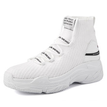 2021 new arrivals  white sneakers socks shoes men's large size trendy shoes widened and fattened high-top cloth