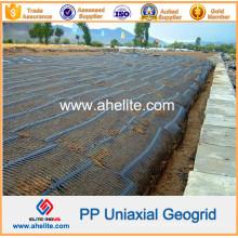 Plástico de alta resistencia PP Uniaxial Geogrids 80kn / M