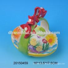 Керамические пасхальные корзины с цветочной статуэткой
