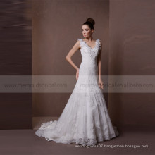 Classical V-neck Flowers Straps Mermaid Lace Wedding Party Dress Sweep Train