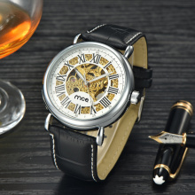 skeleton automatic leather mechanical men wrist watch