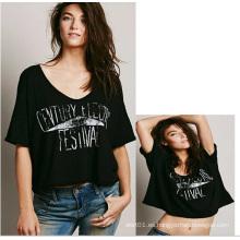Nuevas mujeres del diseño de la venta caliente Tops señoras del algodón Camiseta negra