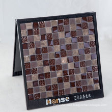 300X300mm Glass with Brown Marble Mosaic Tile Shower Floor
