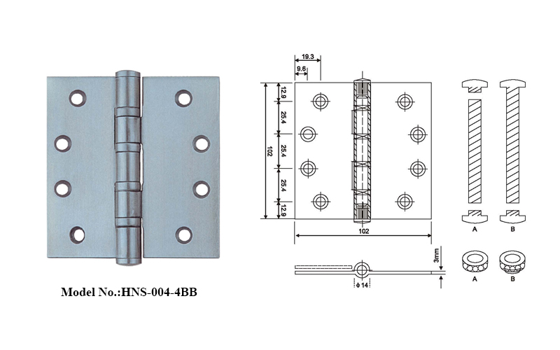 Durable Stainless Steel Hinges with ball bearing