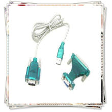 Высококачественный USB 2.0 - 9/25-контактный последовательный порт RS232 DB9 / DB25-адаптер Прозрачный белый