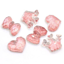 Hot Sale Resin Flat Back Glitzernde Cabochons Kawaii Herz Bowknot Crown Shape Glitter Schleim Charms Cabs für Craft Jewelry Making