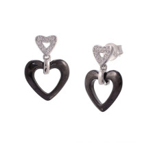 Prata e brincos de jóias de cerâmica, 925 prata esterlina brincos jóias (e20056)