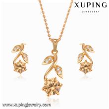 63993 Xuping nouvelle mode 18k plaqué or ensemble de bijoux avec pendentif et boucle d'oreille