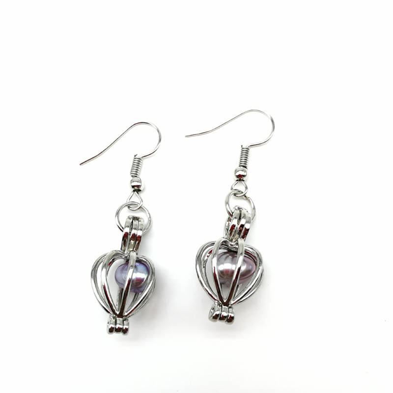 Fashion Heart Cage Pendant Earrings