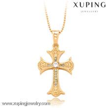 32284-Xuping fina joyería estilo cruz colgante con 18 quilates chapado en oro