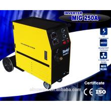 CE утвержденный высококачественный податчик проволоки Компактный однофазный CO2-газ, экранированный сварочный аппарат MIG Mig250, инверторная сварочная машина
