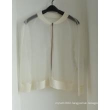 Women Transparent Cardigan Knitwear with Zipper