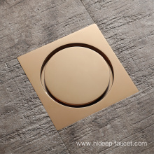 Bathroom Pure Brass Golden Floor Drain