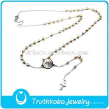 Durable Deux Tons Design Bijoux Or Argent Perles Religieux Revers Croix Pendentif Notre Dame De L'Afrique Vierge Marie Chapelet