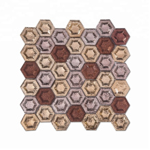 Soulscrafts Glod Brown Backsplash Mosaic 3d Hexagon Glass Tile