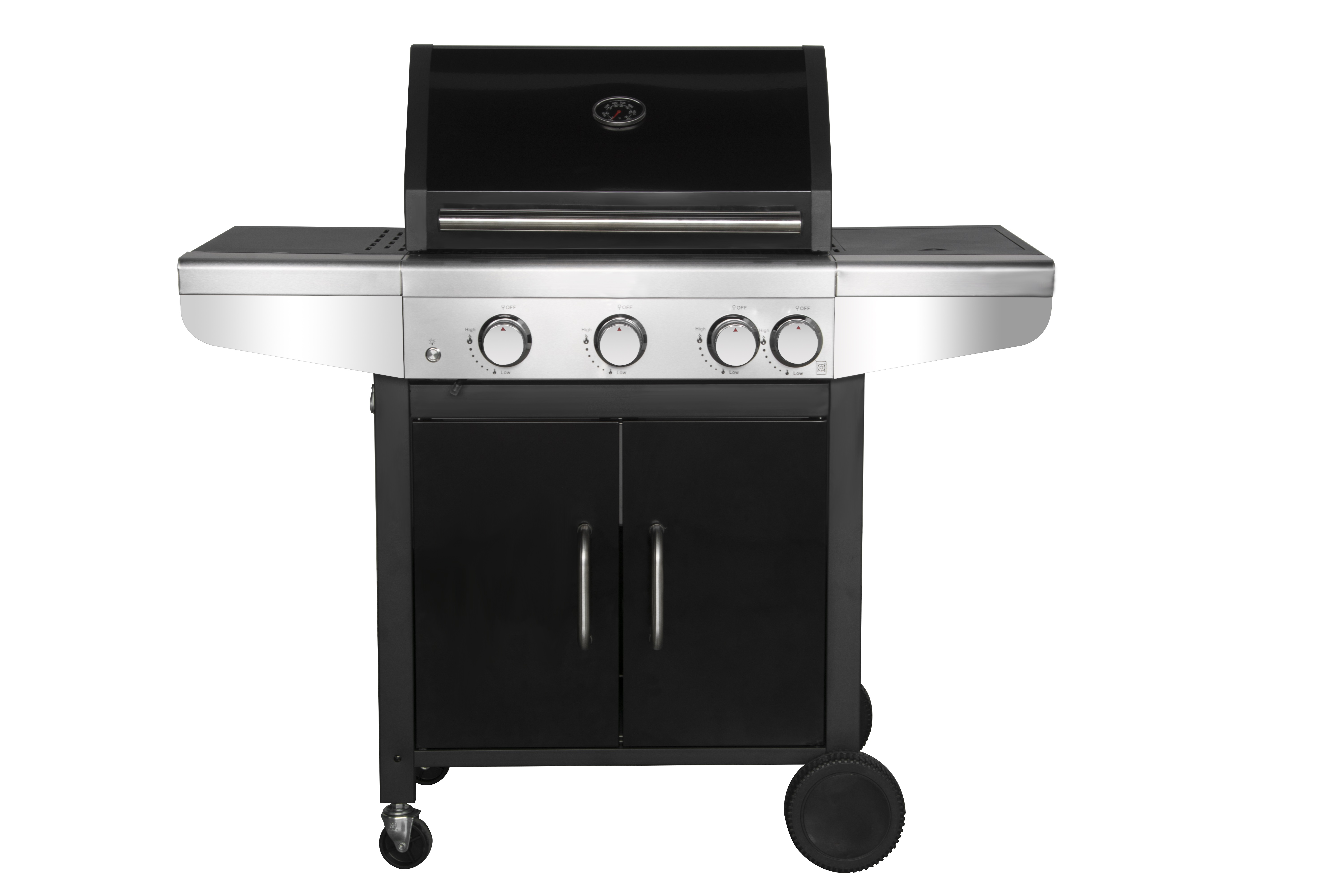 Gas Grill Black with Side Burner