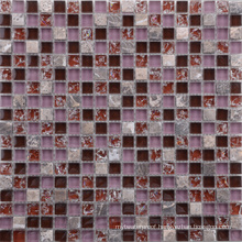 Vintage Style Purple with Red Glass and Stone Mosaic Tile