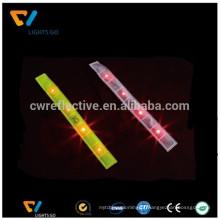 Dongguan Nova versão pulseira de pulso de envoltório de tapa reflexivo e segurança LED braçadeiras reflexivas