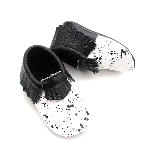 New Product Black Spot Leather Valuable Quality Moccasins