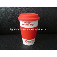 Porzellan Kaffeetasse mit Silikonhülle, Single Wall