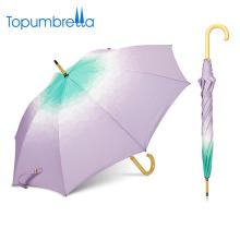 Regenschirm Hersteller China Gradient benutzerdefinierte Phantasie Holzgriff Regenschirm