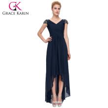 Grace Karin Cap Sleeve V-Neck High-Low Chiffon Navy Blue Prom Dress 8 Size US 2~16 GK000092-1