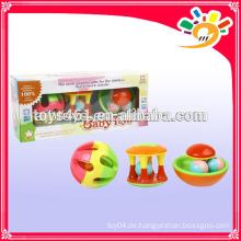 Bunte Aufklärung Serie Baby Bell Spielzeug, Funny Plastic Rattle Bell Set Spielzeug (3 Stück ein Set)