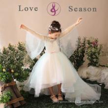 XXLF197 high low ball gowns girl flower fancy dress competition emerald flower girl dress