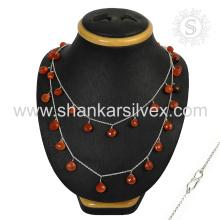 Joyería de plata personalizada del collar 925 del Cornalina de la joyería de encargo personalizada