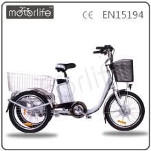 MOTORLIFE/OEM brand EN15194 36v 250w electric tricycle, three wheel tricycle for adult