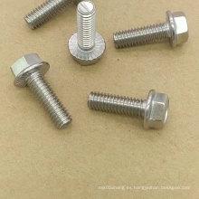 Pernos de brida hexagonales de acero inoxidable / acero al carbono